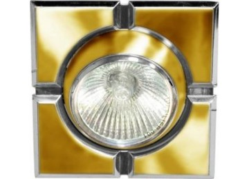 Светильник 098T-MR-16-S-квадрат-золото-хром-D-L-GU5.3-GDCM